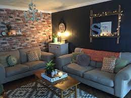 Red brick wallpaper living room ...