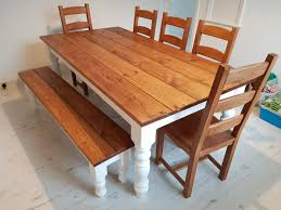 farmhouse table with bench and 5 ladder back chairs waxed