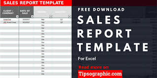 Sales Report Template For Excel Free Download Tipsographic