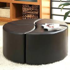 large round ottoman coffee table brown leather tray uk