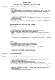 Sample Resume For Environmental Services Environmental Services Tech Resume Samples Velvet Jobs 8