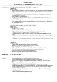 Environmental Services Resume Sample Environmental Services Tech Resume Samples Velvet Jobs 1