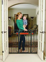 regalo home accents extra tall and wide walk thru baby gate includes décor hardwood