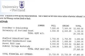 rules for decoding college financial aid award letters this letter from the university of portland