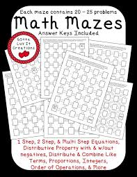no prep ready to print math mazes covering the following math concepts order of