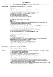 Experienced Mechanical Engineer Resume Samples Velvet Jobs