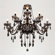 majestic double tiered 12 light smoky strands of crystal bobeche and pendants chandelier