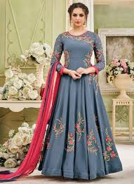 Frock Suit Neck Design Grey Georgette Anarkali Suit