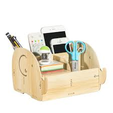 diy multi functional wooden desktop remote control storage box organizer caddy mobile phone pen office supplies holder container light wood s 1