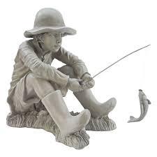 com design toscano gone fishing fisherman statue outdoor statues garden outdoor