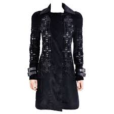 new versace black velvet crystal gothic cross embellished flared coat for