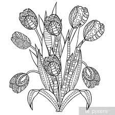 Sticker Tulpen Bloemen Sier Zwart Wit Kleurplaten Pixers We