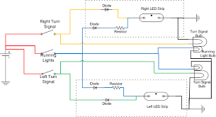wiring flexible led strip to turn signal oznium blog i don t know what the resistor value should be right now though i don t know enough about the led strips what length of strips do you want to use for each