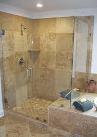 frameless glass cardinal shower with beige ceramic wall for modern bathroom idea