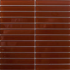 sheet of 1x6 inch chocolate brown glass subway tile