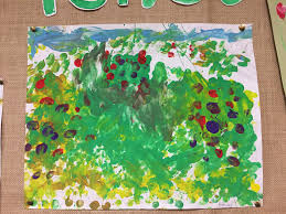 we explored diffe techniques using colour and texture to paint a landscape the children painted with their finger tips and used cotton buds to paint