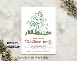 Printable Holiday Party Invitations Christmas Party Invitation Template Printable Christmas Tree