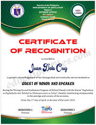 Certificate Of Recognition For Guest Of Honor Speaker