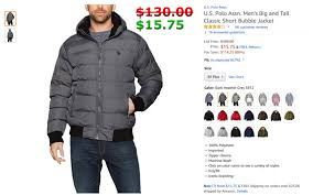 U S Polo Assn Mens Standard Puffer Jacket With Polar