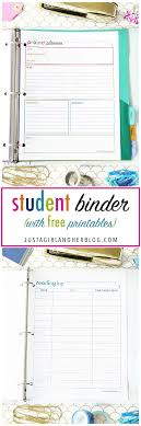 Planner Printables For Students Student Binder For Back To School With Free Printables