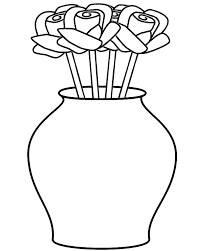 Small Picture Roses in Curved Vase Coloring Page Plants