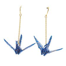 Japan Centre Origami Long Crane Earrings Blue Seigaiha Wave