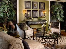 Living Room : Jungle Theme For The Design Of A Living Room With Decorations  That Include A Sofa And Table And Then A Vase Then Added Plants And  Pictures On ...
