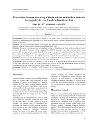 the relation between executing of thesis policies and medical  the relation between executing of thesis policies and medical student s theses quality in type І medical faculties of pdf available