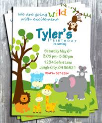 Jungle Theme Birthday Invitations Jungle Safari Annimals Birthday Theme Party Invitation Card Printable
