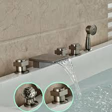 pull out bathtub faucet deck mount waterfall waterfall bathtub mixer faucet roman tub filler with brushed nickel in shower faucets from home improvement on