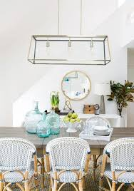 coastal dining room. Coastal Dining Room With Blue French Bistro Chairs T
