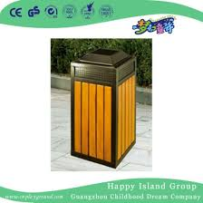 outdoor patio wooden square trash can