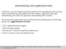Telemarketing Resumes Telemarketing Resume Samples Telemarketing Sales Application Letter