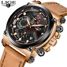 Reloje <b>2019 LIGE Men Watch</b> Male Leather Automatic date Quartz ...