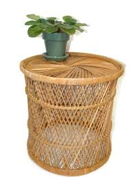 stylish rattan round coffee table with vintage rattan drum table side table bohemian home plant stand