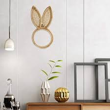 rattan frame mirror decor rabbit shape