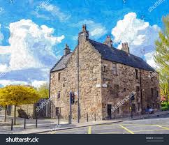 digital oil painting from a photograph of the oldest remaining house in glasgow scotland known