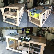 diy table saw table quick and easy mobile workstation with table saw and miter saw platforms diy table saw