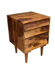 solid sheesham wood small drawers bedside chest funky modern 3