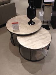 monterey round nesting coffee table seating areas really want dark stained box like mantle under tv
