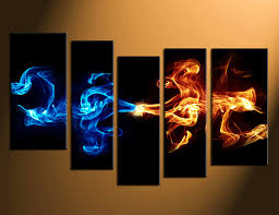 abstract 5 piece smoke canvas wall art