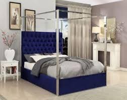 Queen Size Navy Velvet Upholster Chrome Finish Canopy Bed Bedroom ...