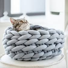 2019 30 35 40cm diy hand woven co wool pet nest cat bed winter cozy warm dog house crochet chunky knitted kennel mat pet supplies from yueji