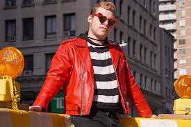 red leather jacket black and white striped shirt a interior design student jackson dahl photo by tyler kufs