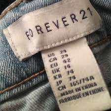 Women Size Chart Forever 21 Jeans On Poshmark