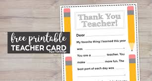 Free printable, pretty pdf files for easy homemade gifts. Free Printable Thank You Card Teacher Paper Trail Design