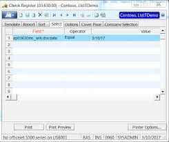 Dynlamics Sl Ap Check Register Report Is Blank When Selecting By ...