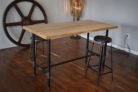 awesome collection of bar high butcher block table and 4 chairs cool