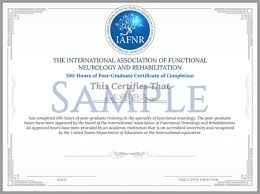 Certificate Of Completeion Iafnr 100 Hours Of Post Graduate Certificate Of Completion