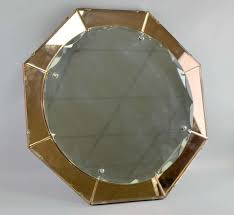art deco pink and clear glass octagonal mirror